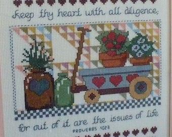 Proverbs 4:23 Cross stitch - Bible Verse