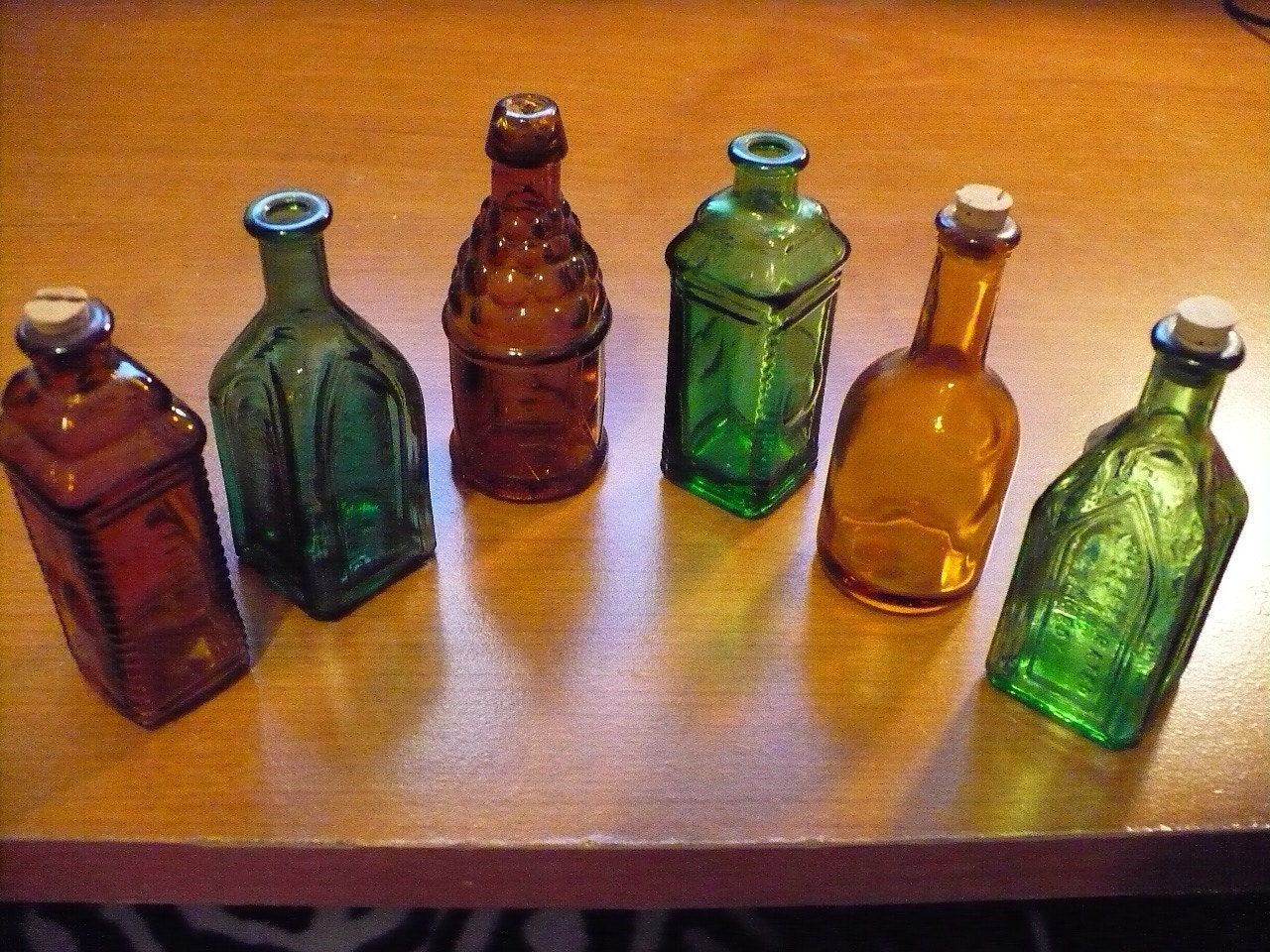 Vintage miniature colored glass bottles for Small colored glass jars