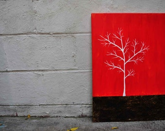 Red from the White Series II - Original Modern Canvas Painting - Free Shipping