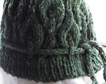 Asparagus Hat PDF Hand Knitting Pattern   leafy fun hat for cool weather