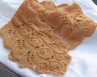 Rosebud Knit Neckwarmer PDF Pattern - Charming Lace and Leaves