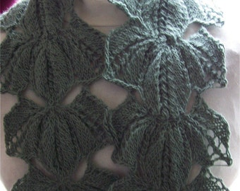 Instant Download pdf Hand Knitting Pattern - EverGreen Scarf