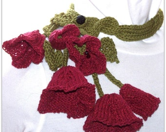 Instant Download pdf Hand Knitting Pattern - Poppy Scarf