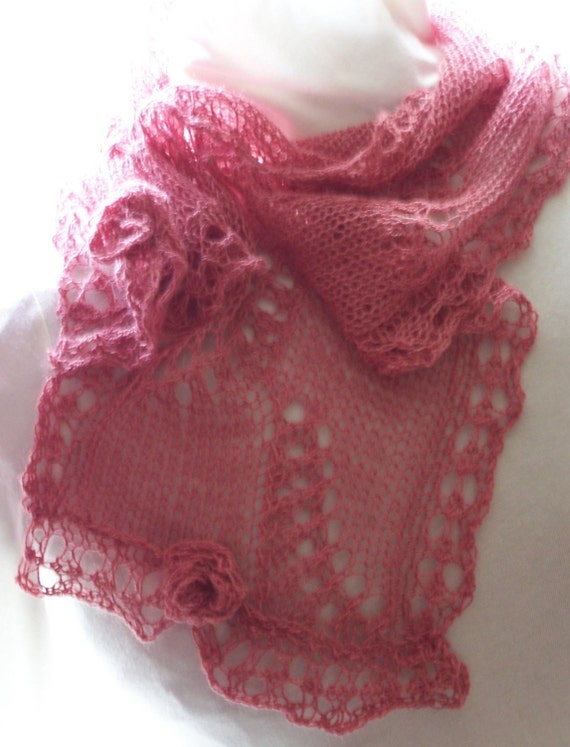 Sakura PDF hand knitting scarf pattern   Add some Blossoms to your life