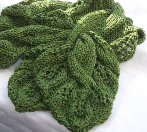 Vine Leaf Knitting Pattern : Scarf Knitting Pattern Twisted Vine from KnitChicGrace on ...