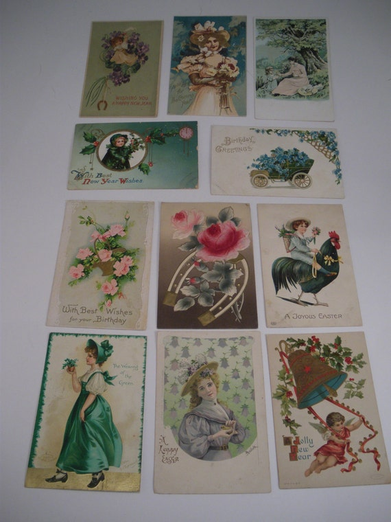 HALF PRICE 11 Victorian Holiday and Greeting Postcards New Year Easter St Patrick's French SALE