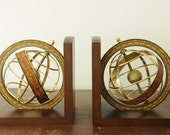 Pair of vintage Italian astrological sundial bookends