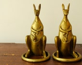 Vintage Sarreid kangaroo brass bookends