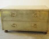RSVD for osquigo17-Vintage brass-cladd chest by Sarreid