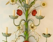 rSVD for itkitstudio-Vintage Italian, painted tole, five-arm electrified sconce