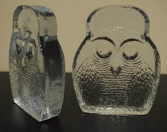 Pair of 1970's Joel Myers Blenko owl bookends