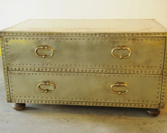 RSVD for osquigo17-Vintage brass-cladd chest by Sarreid