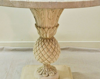 Mid-century accent table with travertine top
