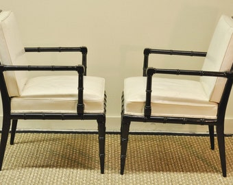 Pair of faux bamboo white leather armchairs
