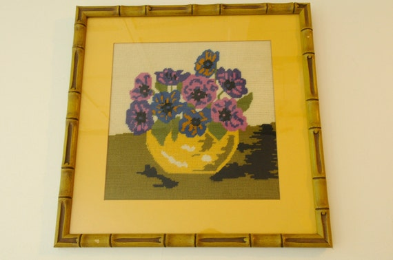 Vintage floral needlepoint in green faux bamboo frame