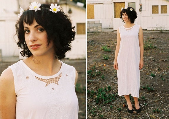 SALE White Beach Boho Dress