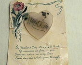 Antique MOTHER Heart Pin on Original Card 1940s WWII