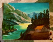Oil on Canvas Vintage Cabin in the Woods by Armenian / American Artist Adrienne