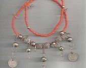 Vintage Guatemala Necklace Orange and Silver Beads with Antique Coins