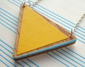 Yellow with Blue - Wooden Triangle Necklace