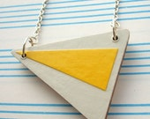 Yellow Arrow - Wooden Triangle Necklace