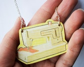 SALE! Wooden Sewing Machine Necklace
