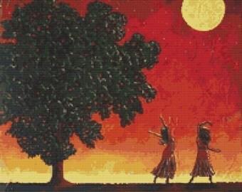 Modern Cross Stitch Kit - By Robert Bretz  'Women Dancing In The Moonlight'