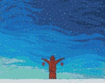 Modern Cross Stitch Kit By Robert Bretz - 'Boy In The Snow'