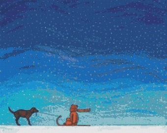 Modern Cross Stitch Kit By Robert Bretz 'Dog Pulling Boy In The Snow' - Winter Cross Stitch