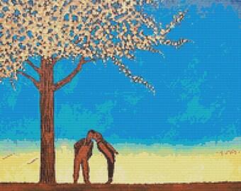 Modern Cross Stitch Kit By Robert Bretz 'Girl Kissing Boy Under The Cherry Tree'