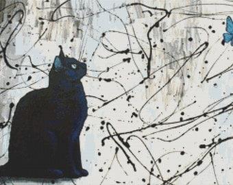 Contemporary Modern Cross Stitch Kit 'Hypnotized' By Robert Bretz - Cat Cross Stitch - Black Cat Art