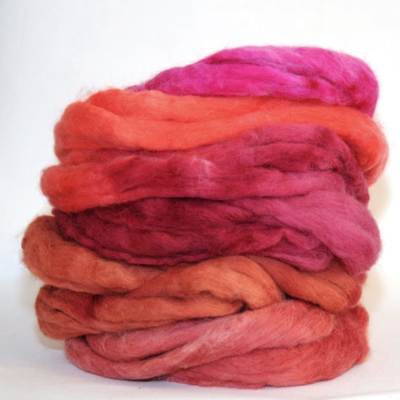 Polwarth and Baby Alpaca 60-40 Fibre Fiber Top Roving Spinning Felting 100g Sliced Reds Colourway