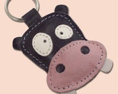 Cute Gray Hippo Leather Animal Keychain - FREE Shipping Worldwide  - Leather Bag Charm Hippo