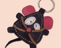 Cute Little Black Mouse Leather Animal Keychain - FREE Shipping