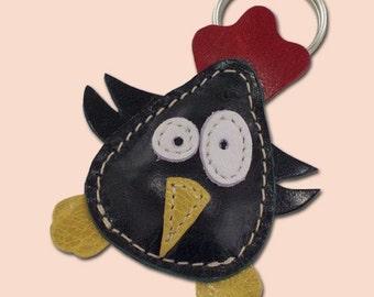 Little dark green chicken keychain