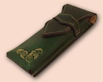 Handmade Leather Pencil Case Zg2 Green
