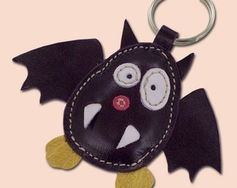 Cute Little Purple Bat Handmade Leather Keychain - FREE Shipping Worldwide - Handmade Bat Leather Bag Charm