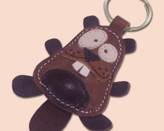 Cute little beaver animal leather keychain - FREE shipping