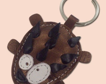 Sweet little vintage copper Hedgehog leather animal keychain