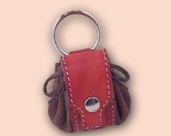 Small backpack leather keychain red