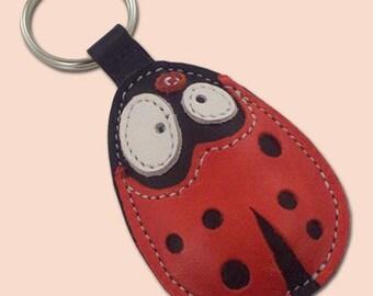 Pootjie the ladybug leather animal keychain - FREE Shipping Worldwide - Ladybug Leather Bag Charm