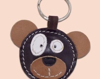 Cute little bear leather animal keychain