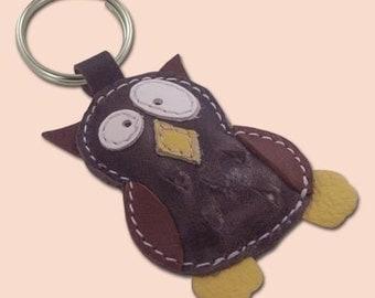 Cute little gray owl leather animal keychain