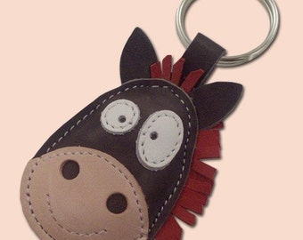 Horse Keychain Leather Animal - FREE Shipping Worldwide - Handmade Leather Horse Bag Charm