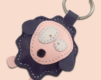 Cute Little Blue Sheep Leather Animal Keychain - FREE shipping