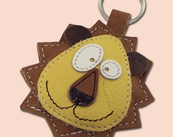 Cute Little Brown Lion Animal Leather Keychain