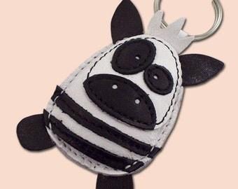 FREE shipping - Sweet Little Zebra Leather Animal Keychain