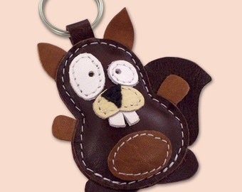 Sweet Little Brown Squirrel Leather Animal Keychain - FREE Shipping Worldwide - Squirrel Leather Bag Charm