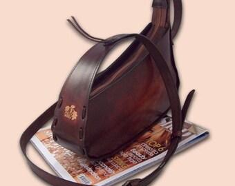 Leather handbag slanted