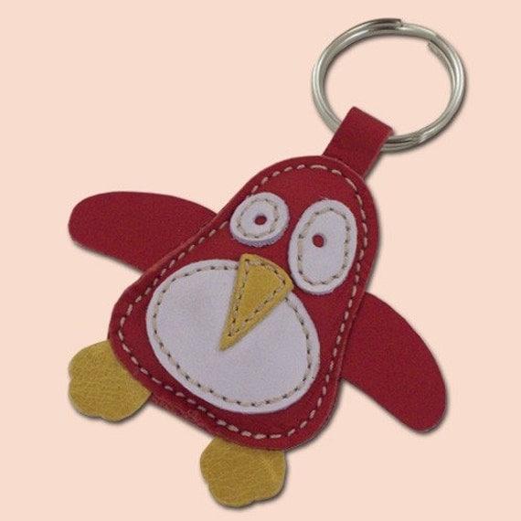 Cute Little Red Penguin Handmade Leather Animal Keychain